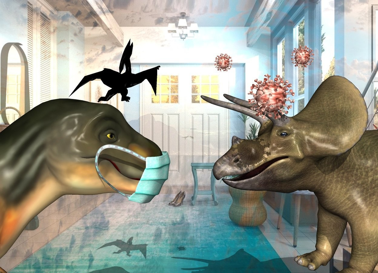 Input text: The shiny vestibule backdrop. The first dinosaur. The second small black dinosaur is -5 inches  above and -20 inches to the right of the 1st dinosaur. It is -55 inches in front of the 1st dinosaur. It is leaning 50 degrees to the back. It is facing southeast.  A 3rd dinosaur is in front of the 1st dinosaur. It is facing back. It is leaning back. 1st large covid is -4.4 feet above and -4.8 feet behind and left of the 3rd dinosaur. 2nd covid is 4 feet right of and .5 feet above the 1st covid. a 3 feet tall surgical mask is -3.5  feet in front of and -5 feet above the 1st dinosaur. 3rd covid is in front of and .3 feet above the 1st covid.