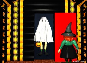 a 6 foot tall trick or treater is in front of a [halloween] log cabin. a floor is -16 feet behind the cabin. the trick or treater faces the cabin. sky. is halloween. ground is invisible.a 5.7 foot tall red door is -3.5 feet in front of the cabin. it is -.4 feet left of the trick or treater. it faces back.  a lemon chiffon light is -3 foot above the cabin. a 4.5 foot tall person is behind the door. the knob of the door is black.