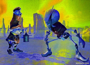 a goblin. backdrop is [image-12328].a leprechaun is 1 feet left of the goblin.the leprechaun is facing the goblin.the camera light is 70% blue.ambient light is 50% blue.the sun's altitude is 45 degrees.shadow plane.the goblin is facing southeast.a linen light is 6 inches right of the leprechaun.a green light is 6 inches in front of the goblin.the backdrop is shiny.the sky is night.