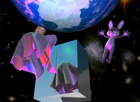 The [sky] backdrop. the enormous earth is 8 feet above the silver elevator. The elevator is 14 feet above the ground. The large  ghost is 2 feet in front of the elevator. The red light is 2 inches in front of the ghost. The ghost is leaning to the right. The blue light is 6 inches to the left of the red light. The camera light is mauve. The rabbit is 3 Feet to the right of the ghost. It is 5  feet tall. The rabbit  is leaning to the left. The green light is 1 foot above the ghost. The mauve light is -10 inches above and -9 inches in front of the rabbit. The purple light is 2 feet in front Of the elevator.