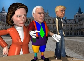 pelosi is 2 feet behind the 8 foot tall wooden cube. she is 16 feet tall.  biden is on the cube. his head is 2 feet tall.  trump is to the right right of biden. his head is 1.5 feet tall.