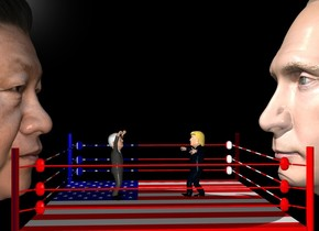 Donald trump is five feet to the right of joe Biden. Donald trump is facing joe Biden. Donald trump is in an american flab boxing ring. Joe biden is in the boxing ring. Joe is facing donald. The backdrop is black. Humongous Putin is 5 feet to the right of trump. Putin is facing trump. Humongous xi jinping is 5 feet to the left of Biden. xi jinping is facing biden.