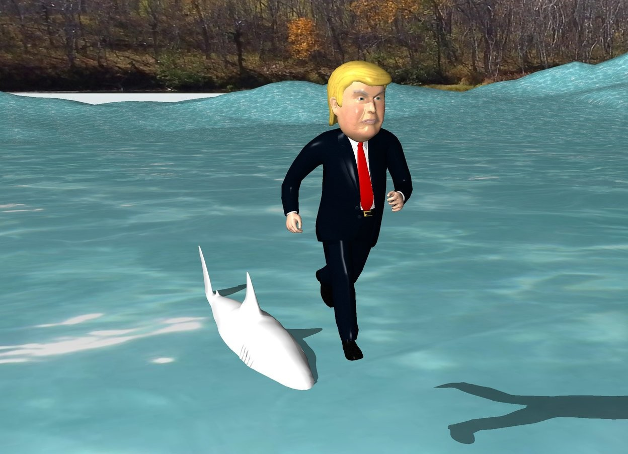 Input text: The ground is water. The Trump is above and in front of the shark. The shark is 4 feet tall.  The shark is in the ground.