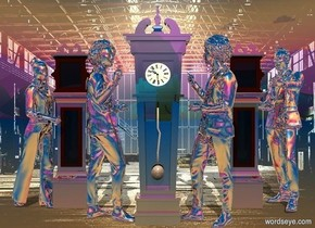 backdrop is shiny [room]. sky. a 1st very shiny dark clock. a 1st silver person is -.5 feet right of the clock. he faces the clock. a 2nd silver person is -.5 feet left of the clock. he faces the clock. camera light is black. a sea mist blue light is 5 feet above and 10 feet in front of the clock. sun's azimuth is 180 degrees. a 2nd very shiny clock is behind and right of the 1st person. a 3rd very shiny clock is behind and left of the 2nd person. a 3rd silver person is -.5 feet right of the 2nd clock. he faces the clock. a 4th silver person is -.5 feet left of the 3rd clock. he faces the clock.