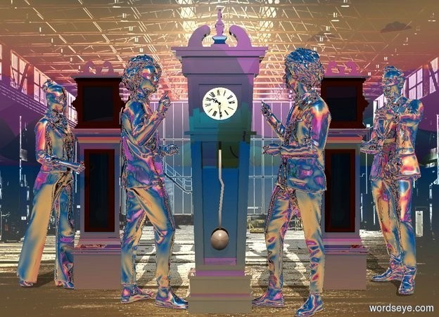 Input text: backdrop is shiny [room]. sky. a 1st very shiny dark clock. a 1st silver person is -.5 feet right of the clock. he faces the clock. a 2nd silver person is -.5 feet left of the clock. he faces the clock. camera light is black. a sea mist blue light is 5 feet above and 10 feet in front of the clock. sun's azimuth is 180 degrees. a 2nd very shiny clock is behind and right of the 1st person. a 3rd very shiny clock is behind and left of the 2nd person. a 3rd silver person is -.5 feet right of the 2nd clock. he faces the clock. a 4th silver person is -.5 feet left of the 3rd clock. he faces the clock.