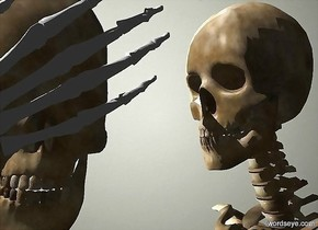 a  hand leans 120 degrees to the right. a 1 foot tall skull is behind and -1 foot above the hand.  sun is white. camera light is black.  backdrop is wall. a skeleton is -.5 foot right of and -6 feet above the skull.  it faces the skull. a light is behind and -1 foot above and left of the skeleton.