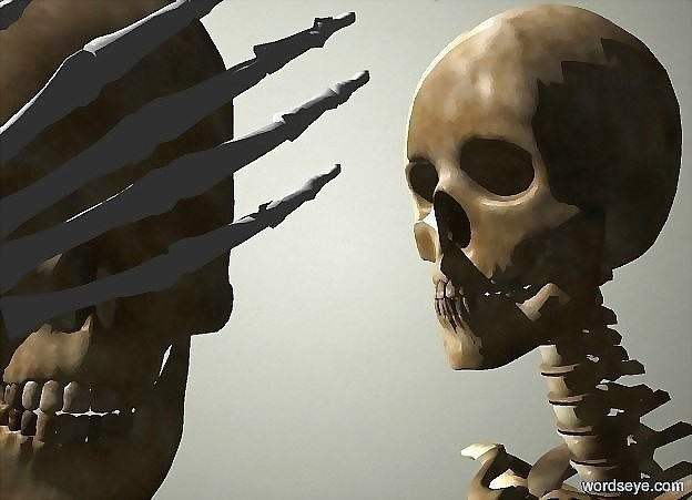 Input text: a  hand leans 120 degrees to the right. a 1 foot tall skull is behind and -1 foot above the hand.  sun is white. camera light is black.  backdrop is wall. a skeleton is -.5 foot right of and -6 feet above the skull.  it faces the skull. a light is behind and -1 foot above and left of the skeleton.
