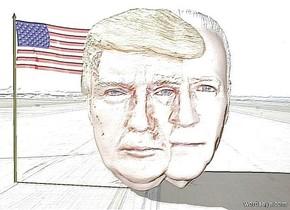 a 100 inch tall shiny joe head.a 100 inch tall shiny donald head is -50 inch left of the joe head.backdrop is shiny.sky is white.a 100 inch tall shiny flag is -10 inch left of the donald head.