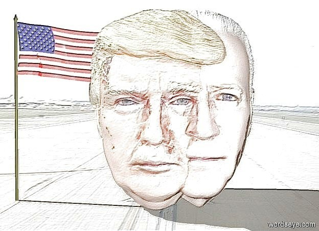 Input text: a 100 inch tall shiny joe head.a 100 inch tall shiny donald head is -50 inch left of the joe head.backdrop is shiny.sky is white.a 100 inch tall shiny flag is -10 inch left of the donald head.