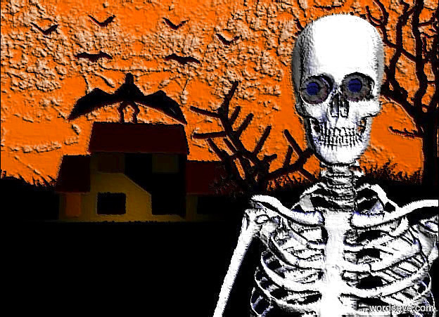 Input text: The  [scene]  backdrop. it is noon. a 12 foot tall white smoke skeleton. a 1st large eye is -1 foot above and -2.4 foot left of and -1.7 feet in front of the skeleton. a 2nd large eye is .1 feet right of the eye. a tiny blue light is in front of and right of the 1st eye. sun is ghost white.