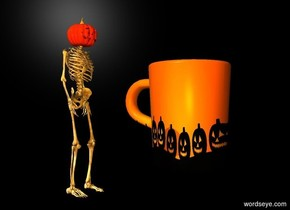 The monster is 4 feet to the left of the 5 foot tall pumpkin coffee. The backdrop is black. The camera light is orange.
