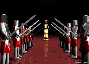 it is night. 2d ground is visible. ground is dull brown. sky. camera light is black.  a 1st knight faces right. a 2nd knight is 2 feet right of the knight. it faces left. 3rd knight faces left. it is 2 feet behind the knight. 4th knight faces right. it is 2 feet left of the knight. 5th knight faces right. it is 2 feet behind the knight. 6th knight faces left. it is 2 feet right of the knight. a gigantic flat silver wall is behind the knights. it is .1 foot in the ground.   a 1st light is 30 feet above the knights. a 2nd light is 20 feet right of and in front of the knights. a 3rd light is 20 feet right of and in front of the knights. a 4th light is 30 feet above and 20 feet in front of the knights.  a tall [gold] woman is 35 feet in front of the wall. her hair is black.she faces back.a .5 foot tall shiny gold crown is -.2 feet above the woman.