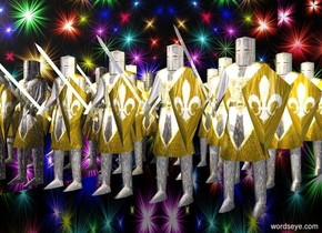 4 6 foot tall gold knights are 1 foot in front of 4 6.2 foot tall gold knights.  4 6.4 foot tall gold knights are 1 foot behind the 6.2 foot tall knights. a linen light is 2 feet above and in front of the 6 foot tall knights. a gold light is 2 feet above and in front of the 6.2 foot tall knights. a huge flat silver wall faces right. it is left of the 6.2 foot tall knights. backdrop is invisible. ground is invisible.sky.