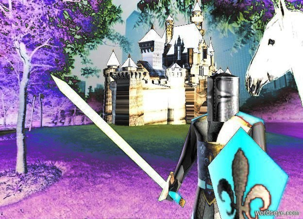Input text: a knight. sky is white. a peach puff light is 10 feet right of the dove. it is noon. shadow plane is invisible.  a small [medieval] castle is 50 feet left of and 50 feet behind the knight. it faces right. a light is 10 feet right of and above the knight. a 8 foot tall horse is 1 foot behind and -2 foot right of the knight. the horse faces back.