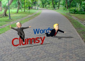 "Donald Trump is 3 feet to the right of Joe Biden. ""Wording"" is 1 feet  behind Donald.""Wording"" is  electric blue. ""Clumsy"" is one foot in front of Joe.""Clumsy"" is tulip red."