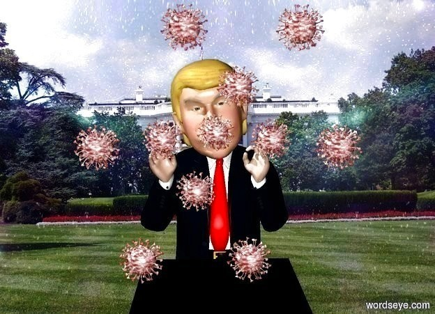Input text: trump is behind a 3.5 foot tall and 2 foot wide and 2 foot deep black cube. backdrop is shiny [white house]. a small shiny virus is -2.5 foot above and -.2 feet in front of the trump. sky.