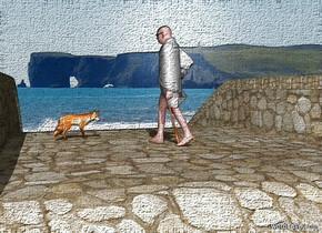 a bridge.a man is -3.3 feet above the bridge.the bridge is 10 feet tall.a fox is 1 feet behind the man.it is 1 feet right of the man.the man is facing the fox.pale shadow plane.