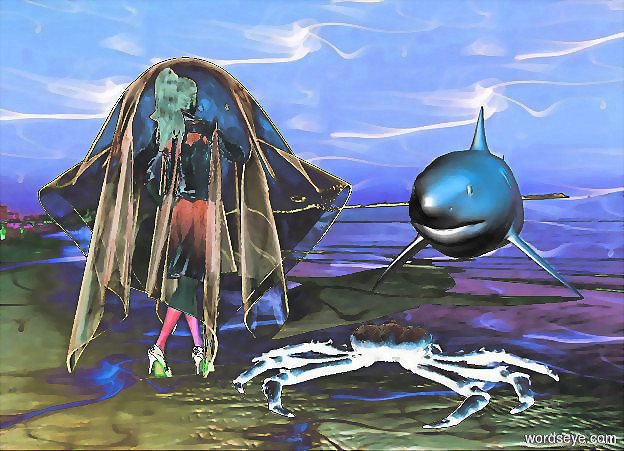 Input text: a 1st 100 inch tall clear white ghost..a 100 inch tall shiny woman is -105 inch above the ghost.a white light is above the woman.ambient light is  gold.sun is  blue.a 350 inch tall and 360 inch wide and 1600 inch deep gray shark is 500 inch in front of the ghost.the shark is -190 inch above the woman.the shark is facing the woman.sky is texture.backdrop is shiny.a 20 inch tall shiny gray king crab is left of the woman.