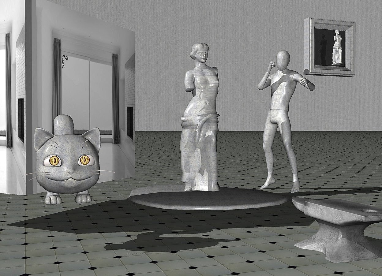 Input text: a  120 inch tall [steel] mannequin.a 10 inch tall upside down [steel] fried egg is left of the mannequin and -5 inch above the ground..a 1st 120 inch tall [steel] venus de milo is  -4 inch above the fried egg.sky is 40 inch wide [steel].ground is  [tile].a 100 inch tall and 100 inch wide and 50 inch deep gray [window frame] cube is 20 inch above the ground.the cube is facing northwest.a 40 inch tall [steel] cat is in front of the cube.a 25 inch tall anvil is 70 inch in front of the fried egg.a 50 inch tall [steel] picture frame is  right of the mannequin. the picture frame is -20 inch above the mannequin.a 30 inch tall 2nd [steel] venus de milo is in front of the picture frame.the 2nd venus de milo is -40 inch above the picture frame.