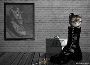 Boot painting. Room backdrop. A huge boot is 1 foot right of and -6 feet above the painting. It is facing southwest. A large cat is -3 inch above and -2.1 foot right of and -3 foot behind the boot. Azimuth of the sun is 20 degrees. Camera light is black. A light is 4 feet right of and 6 feet in front of the boot. A rapier is -4 inch left of and -2 feet in front of the boot. It is leaning 90 degrees to the front. It is facing southwest. A [currency] bag is 4 feet behind and right of the rapier.