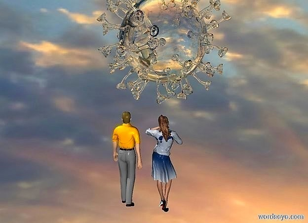 Input text: sky is cloud.ground is invisible.a 100 inch tall clear white covid19.sun is white.a 80 inch tall woman is 10 inch below the covid19.a 80 inch tall man is left of the woman.the woman is facing north.the man is facing north.