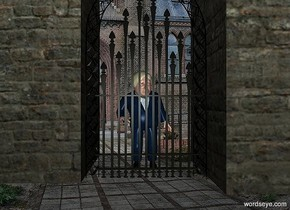 a boris.a gate is 1 feet in front of the boris.a 1st wall is right of the gate.a 2nd wall is left of the gate.