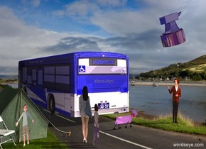 A 10% shiny blue bus. Scotland backdrop. A 50% dark green tent is -5 feet behind and 2 feet right of the bus. Azimuth of the sun is 300 degrees. A bright dog is behind and 5 feet left of the tent. It is leaning 20 degrees to the back. A flat man is 6 feet left of the dog. He is facing the dog. A flat woman is 2 foot behind and left of the tent. She is facing the dog. A flat child is behind the tent. The child is facing northwest. Camera light is black. A cream light is 20 feet behind and 20 feet above and right of the bus. A lemon light is 100 feet left of the woman. A pink light is behind the dog. A pink light is right of the woman. A chair is -4 inch right of the child. It is facing northwest. A huge shiny anvil is 4 feet above the man. It is facing west. It is leaning 20 degrees to the back. A flat girl is left of and behind the woman. She is facing west.