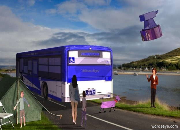 Input text: A 10% shiny blue bus. Scotland backdrop. A 50% dark green tent is -5 feet behind and 2 feet right of the bus. Azimuth of the sun is 300 degrees. A bright dog is behind and 5 feet left of the tent. It is leaning 20 degrees to the back. A flat man is 6 feet left of the dog. He is facing the dog. A flat woman is 2 foot behind and left of the tent. She is facing the dog. A flat child is behind the tent. The child is facing northwest. Camera light is black. A cream light is 20 feet behind and 20 feet above and right of the bus. A lemon light is 100 feet left of the woman. A pink light is behind the dog. A pink light is right of the woman. A chair is -4 inch right of the child. It is facing northwest. A huge shiny anvil is 4 feet above the man. It is facing west. It is leaning 20 degrees to the back. A flat girl is left of and behind the woman. She is facing west.