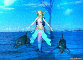 a shiny elf.water backdrop.pale shadow plane.a 1st shiny dolphin is right of the elf.backdrop is shiny.sky is fantasy.a 2nd shiny dolphin is left of the elf.