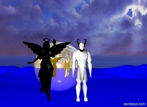 The angel is left of the devil .  the angel and devil are in the sky   behind the angel and devil there is a 6 foot tall gold reflective sphere.  the ground is blue  the angel is black the devil is white