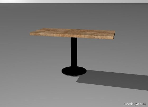 Input text:  a black 2 feet wide plate is upside down. a 3 feet tall and 6 inch wide black tube is -2 inch above the plate. a 2.5 feet deep and 6 feet long and .2 feet tall [wood]  plank is on the tube. backdrop is white.