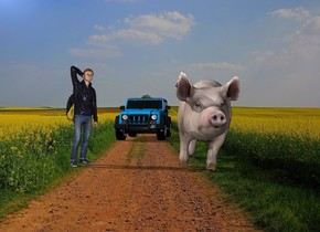 The college student is 7 feet left of the pig. The pig is 8 feet tall. The offroad vehicle is 30 feet behind the college student. The farm backdrop. The college student is 9 feet tall. The offroad vehicle is 8 feet tall. The college student is facing southeast. The pig is facing south. The offroad vehicle is facing south.