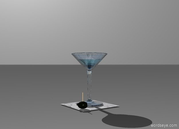Input text: a 6 inch wide and 6 inch deep and .01 inch thick paper. a martini glass is on the paper. a olive is -2 inch right of and -1.5 inch in front of and -.08 inch above the paper. it faces southwest. a tiny solid red marble is -.05 feet above and -.8 inch left of and -.5 inch in front of the olive. backdrop is white. a .12 feet tall and .3 feet wide clear waterfall blue cone is -.2 feet above the martini glass. it is upside down. a .1 feet tall and .1 inch wide tan tube is -.2 inch above the olive .