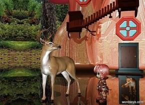 a deer.a elf is 1 feet right of the deer.the elf is facing southwest.a shiny building is 20 feet behind the deer.clear ground.a fox is 1 feet behind the elf.it is right of the elf.