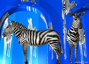 a building is on the  ground. the building is 10 foot tall [zebra]. a 1st zebra is in front of the building. it faces left.  a 1st light is -16 feet left of the building. a 2nd light is 10 feet left of the zebra.  a 2nd 8 foot tall zebra is -2 feet behind and 1 foot right of the zebra.   sun is ink blue. ground is ink blue.