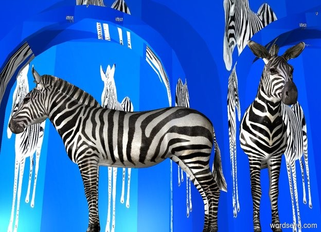 Input text: a building is on the  ground. the building is 10 foot tall [zebra]. a 1st zebra is in front of the building. it faces left.  a 1st light is -16 feet left of the building. a 2nd light is 10 feet left of the zebra.  a 2nd 8 foot tall zebra is -2 feet behind and 1 foot right of the zebra.   sun is ink blue. ground is ink blue.
