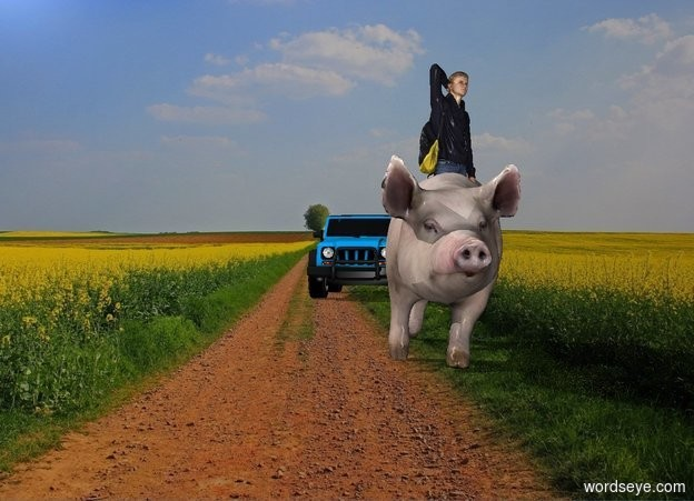 Input text: The college student is 4 feet in the pig. The pig is 8 feet tall. The offroad vehicle is 30 feet behind and to the left of the pig.  The farm backdrop. The college student is 8 feet tall. The offroad vehicle is 8 feet tall. The college student is facing southeast. The pig is facing south. The offroad vehicle is facing south.