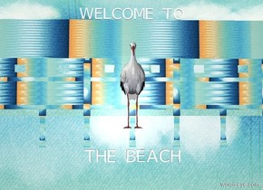 """a flat beach wall. sky is 1500 foot tall beach. sky is upside down. sky leans 25 degrees to the front. a 10 foot tall stork. it is  in front of and -14 feet above the wall. sun is linen. a white """"THE BEACH"""" is 2.5 feet beneath the stork. a white """"WELCOME TO"""" is above the wall."""
