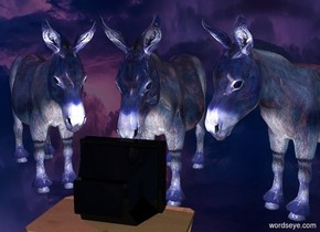 a 1st 40% shiny blue donkey. the ground is invisible. a small dull tv is in front of the donkey. it faces the donkey. the tv is on a small table. sky leans to the front. a 2nd 40% shiny blue donkey is left of the donkey. it faces the tv. a 3rd 40% shiny blue donkey is right of the 1st donkey. it face the tv. sun is purple. a very tiny light is behind and -1 foot above the tv.