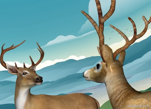 Input text: a 1st deer. a 2nd deer is right  of the deer. it faces the deer. ground is invisible. sky leans to the right.  sun's azimuth is 270 degrees.
