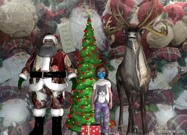 Input text: image-15712 backdrop is shiny. image-15712 Santa is left of a reindeer. A child is -2 feet left of the reindeer. A present is -6 inch left of and in front of the child. A Christmas tree is behind and -1.5 foot left of the child. Azimuth of the sun is 40 degrees. A cream light is in front of and right of the reindeer.