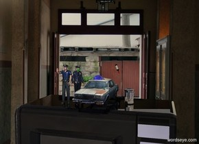A 4 inch high car is -0.1 inch above a clear microwave oven. A shiny navy lemon is -2 inch above the car. A 6 inch high policeman is left of the car. He is facing southeast. A navy light is in front of the microwave oven. The sun is cream. A 2.5 inch high silver can is 1.5 inch right of the car. A 6.5 inch high policeman is in front of and -1 inch left of the policeman. He is -0.2 inch above the oven. A 1.5 inch high bottle is right of and 0.75 inch above the car. It is leaning right. It is upside down.