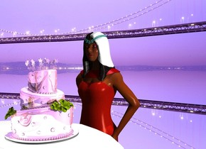 a shiny cake is on a table. ground is silver. a small flat silver wall is -.1 foot behind the table. it is noon. a tiny light is behind the cake. a 4 foot tall person faces back. she is in front of the table. the person's hair is red.
