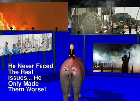 a  large elephant faces back. 1st [fire2] billboard is 15 feet behind and 1 feet left of the elephant. the [fire2] of the 1st billboard is 45 feet wide. 2nd [storm] billboard is 24 feet behind and -10 feet right of the elephant. it is -2 feet above the ground. the [storm] of the 2nd billboard is 45 feet wide. 3rd 24 feet tall [covid] billboard is 8 feet left of and 4 feet behind the elephant. it faces southeast. it is 4 feet in the ground. a 15 feet tall and  25 feet long [blm] wall is 23 feet behind and 3 feet right of the elephant. 1st 1.2 feet tall eye is -.5 feet in front of and -3.7 feet left of and -3 feet above the elephant. 2nd 1.2 feet tall eye is -.5 feet in front of and -3.7 feet right of and -3 feet above the elephant. backdrop is [fantasy]. ground is blue. a 5 feet tall and 3 feet wide tube is 20 feet above and 7 feet in front of the elephant. it leans 40 degrees to the front. a red light is -2.5 feet above the tube. the donald is -1.3 feet above and -7 feet in front of the elephant.