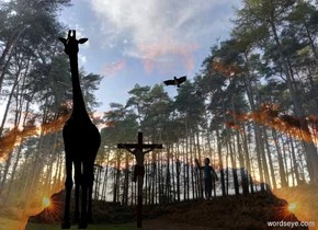 image-15690 backdrop is shiny. A black giraffe. Sky is leaning 30 degrees to the back. Sun is silver. A dark cross is 2 feet right of the giraffe. Camera light is black. An eagle is right of and 4.5 feet above the cross. It is facing southwest. A child is 3 feet right of and -6.5 feet above the cross.