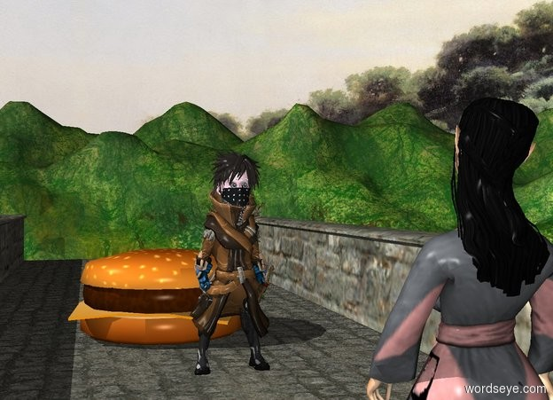 Input text: The forest ranger is -3 feet above the 120 foot long bridge. The elf is 10 feet in front of the forest ranger. The 4 foot tall cheeseburger is 10 feet behind the forest ranger. The elf is facing the cheeseburger. The elf is -3 feet above the bridge. The cheeseburger is -5 feet above the bridge.
