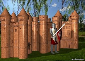 a 1st 400 inch tall knight.a 1st 500 inch tall brick fortress is behind the 1st knight.a 2nd 600 inch tall brick fortress is left of the 1st fortress.the 2nd fortress is facing southeast.a 3rd 700 inch tall brick fortress is right of the 1st fortress.the 3rd fortress is facing southwest.