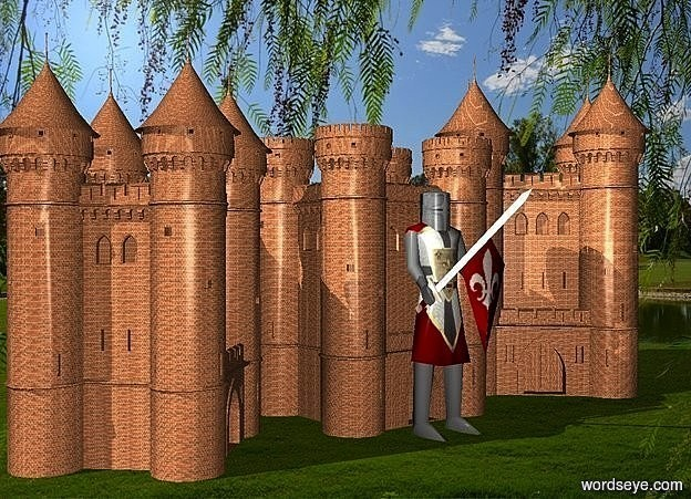 Input text: a 1st 400 inch tall knight.a 1st 500 inch tall brick fortress is behind the 1st knight.a 2nd 600 inch tall brick fortress is left of the 1st fortress.the 2nd fortress is facing southeast.a 3rd 700 inch tall brick fortress is right of the 1st fortress.the 3rd fortress is facing southwest.