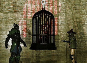 a 7 feet tall cage.the cage is 3 feet above the ground.a 10 feet long chain is -3 inches above the cage.it is face up.a zombie is -50 inches in front of the cage.a shiny structure is -35 feet behind the cage.it is on the ground.a red light is 2 inches in front of the zombie.a warlock is 6 inches right of the cage.he is on the ground.the warlock is facing the cage.the camera light is dull.a knight is 2 inches left of the cage.the knight is on the ground.the knight is facing southeast.it is evening.