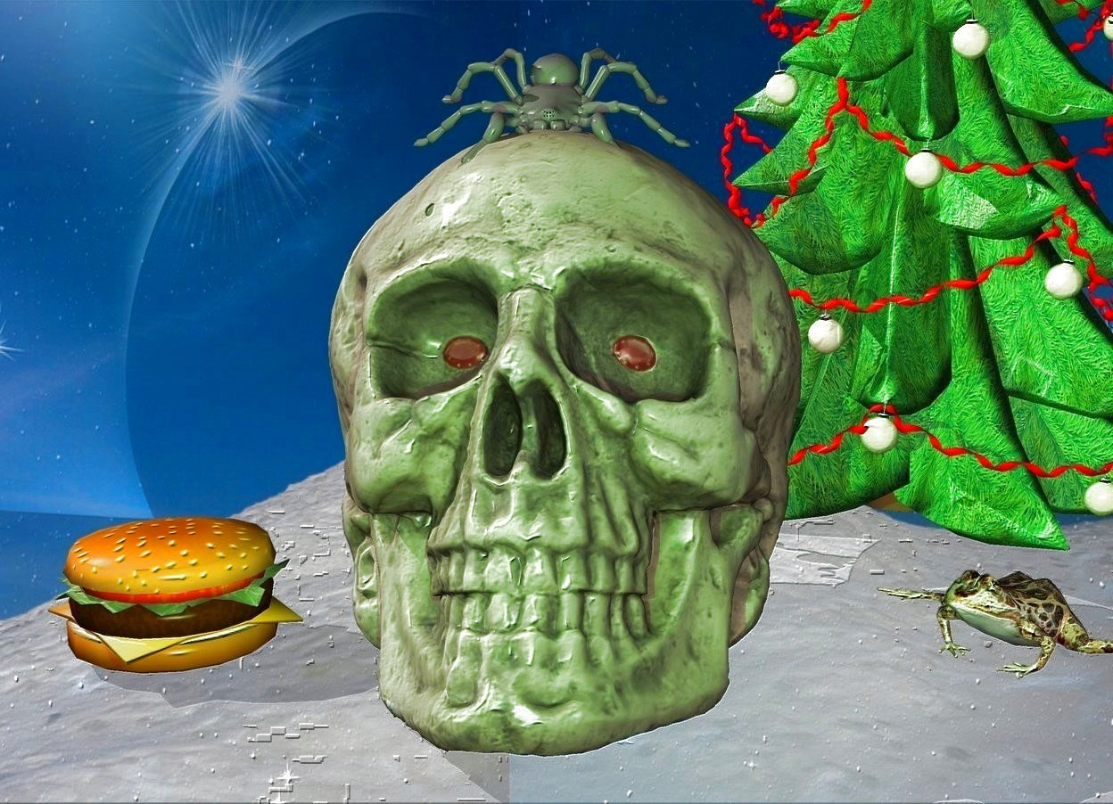 Input text: a skull.a green light is in front of the skull.shiny backdrop.fantasy sky.pale shadow plane.a frog is right of the skull.it is facing southwest.a spider is -2 inches above the skull.it is leaning 40 degrees to the south.a hamburger is left of the skull.a tiny christmas tree is behind the frog.